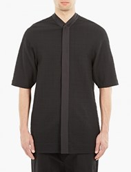 Rick Owens Black Seersucker Baseball Shirt