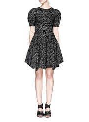 Azzedine Alaia 'Asteroide' Abstract Pattern Flare Dress Black