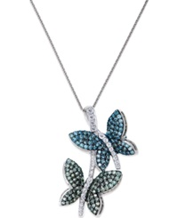 Macy's Diamond Butterfly Pendant Necklace In 14K White Gold 3 4 Ct. T.W.