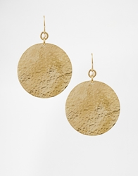 Made Hammered Disc Earrings Brass