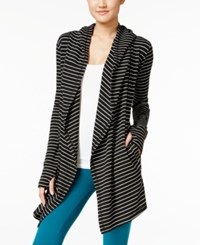 Ideology Striped Relaxed Cardigan Only At Macy's Black White Stripe