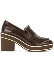 Paloma Barcelo Chunky Heel Platform Loafers Brown