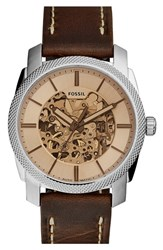 Men's Fossil 'Machine' Skeleton Dial Automatic Leather Strap Watch 42Mm