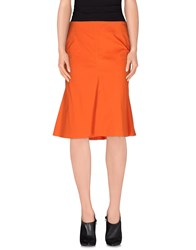 Kiltie Skirts Knee Length Skirts Women Orange