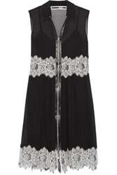 Mcq By Alexander Mcqueen Lace Paneled Silk Chiffon Mini Dress Black