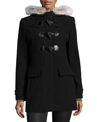 Marc By Andrew Marc New York Fur Trim Hooded Toggle Coat Black