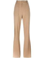 Chloe Fitted Flared Trousers Nude And Neutrals