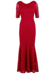 Gina Bacconi Floral Lace Fishtail Dress Red