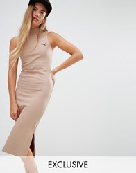 Puma Exclusive To Asos Ribbed High Neck Dress In Camel Chanterelle Beige