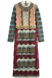 Valentino Lace Dress With Silk Multicolor