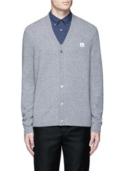 Acne Studios 'Dasher C Face' Emoji Patch Wool Cardigan Grey