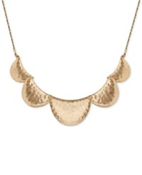 Lucky Brand Gold Tone Hammered Semi Disc Collar Necklace