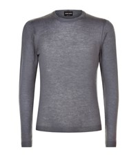 Giorgio Armani Fine Knit Wool Sweater Male Dark Grey