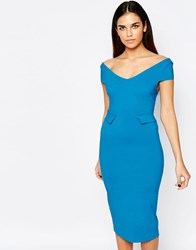 Vesper Phoebe Midi Dress With Peplum Blue