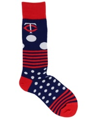 For Bare Feet Minnesota Twins Dots And Stripes 538 Socks Navy