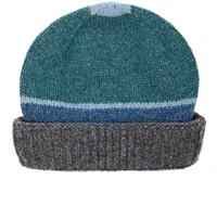 Inis Meain Men's Striped Wool Hat Grey Turquoise Blue Grey Turquoise Blue