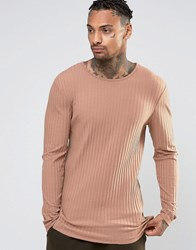 Asos Rib Longline Muscle Long Sleeve T Shirt In Camel Camel Brown