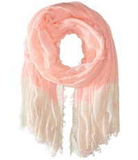 Betsey Johnson Good Vibes Crinkle Wrap With Lurex Neon Coral Scarves Orange