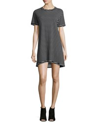 Current Elliott The Knit Tee Striped Dress Black Black White