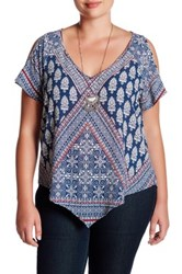 Want And Need Cold Shoulder Blouse With Necklace Plus Size Pink