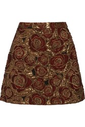 Alice Olivia Riley Brocade Mini Skirt Gold