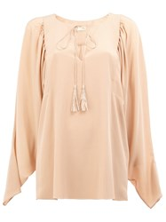 Chloe Slit Front Blouse Pink And Purple