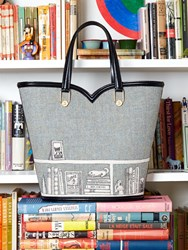 Olympia Le Tan Tote Bag Beatrix Tweed Library Embroidered Grey