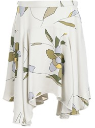 Halston Heritage Floral Print Skirt Nude And Neutrals