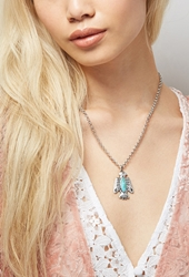 Forever 21 Peyote Bird Turquoise Thunderbird Necklace Silver Blue