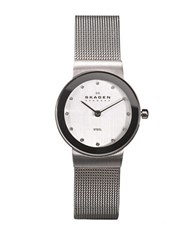 Skagen Ladies Mesh Watch With Silvertone Crystal Accented Dial