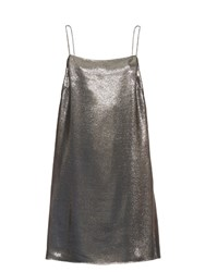 Saint Laurent Square Neck Lame Cami Dress Silver