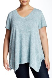 Gibson V Neck Marled Knit Sharkbite Tee Plus Size Blue