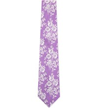 Duchamp Woven Floral Silk Tie Purple