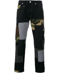 Sophnet Patch Repair Camouflage Jeans Black Multi Coloured Silver Grey