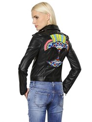 John Richmond Embellished Patch Leather Jacket