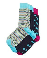 Neiman Marcus Three Pair Sock Set Ribbed Knit Thin Stripe Polka Dot