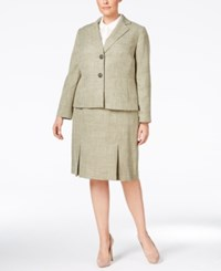Le Suit Plus Size Textured Two Button Skirt Suit Leaf