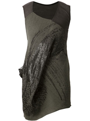 Alessandra Marchi Patterned Draped Sleeveless Dress