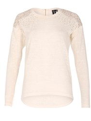 Izabel London Embellished Knit Top Cream
