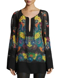 Just Cavalli Multi Floral Print Georgette Tunic