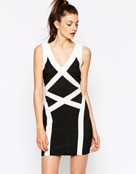 Daisy Street Bodycon Dress With Contrast Panels Blackwhite