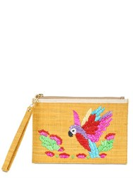 Serpui Marie Macaw Embroidered Straw Pouch