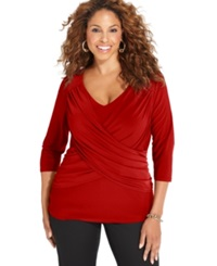 Ny Collection Plus Size B Slim Three Quarter Sleeve Top Chili Pepper