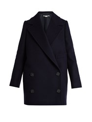 Stella Mccartney Edith Double Breasted Wool Blend Coat Navy
