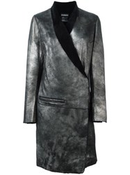 Ann Demeulemeester Shawl Collar Wrap Coat Metallic