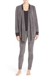 Dkny Women's Open Cardigan And Lounge Leggings Charcoal Faux Heather