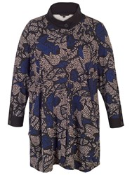 Chesca Printed Jersey Coat Blue Multi