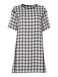 Marella Houndstooth Print Short Sleeve Dress Multi Coloured