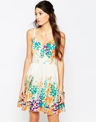 Pussycat London Sun Dress In Floral Border Print Orange