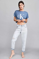 Calvin Klein For Uo Cult Girlfriend Ankle Jean Light Blue Acid Wash